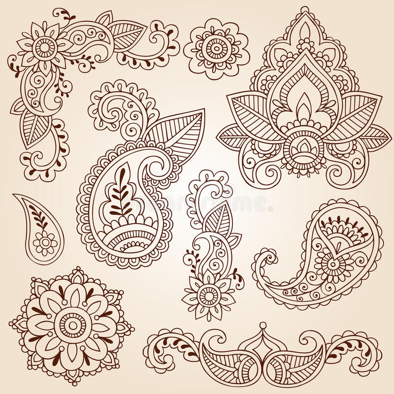Positionnement d'éléments de conception de tatouage de Mehndi de griffonnages de henné illustration libre de droits