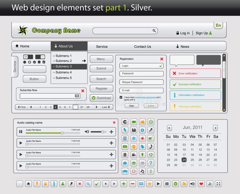 Positionnement d'éléments de conception de Web. Argent de la partie 1. illustration de vecteur