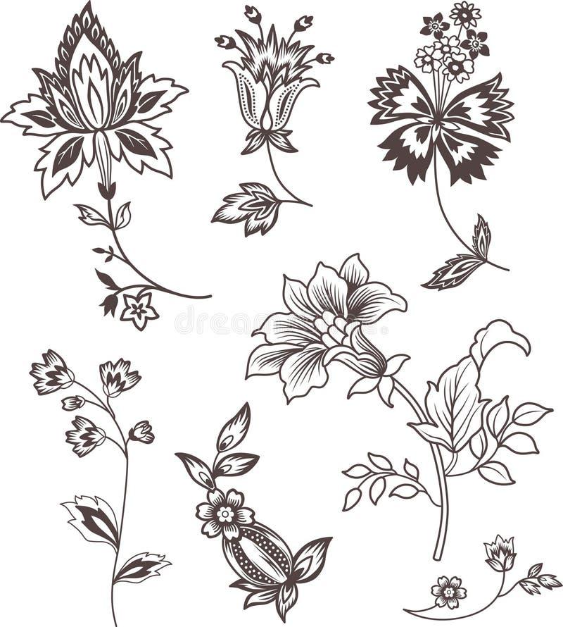 Positionnement d'éléments floral de décor illustration libre de droits