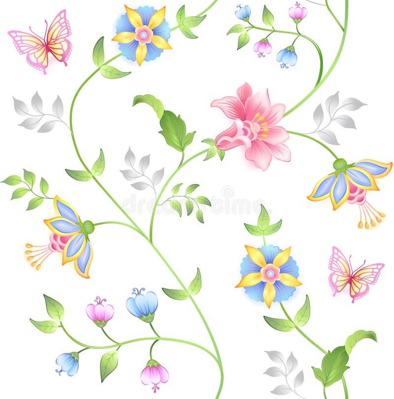 Positionnement d'éléments floral sans joint de décor illustration de vecteur
