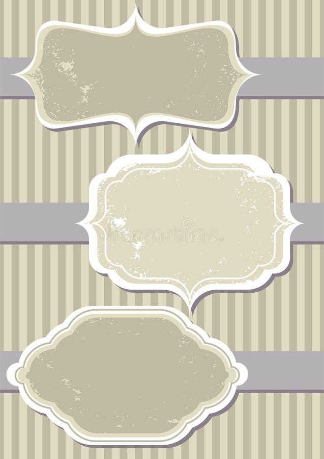 Positionnement d'étiquette de cru sur la bande bleue illustration stock