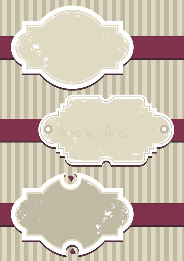 Positionnement d'étiquette de cru sur la bande rose illustration stock