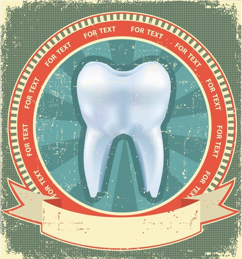 Positionnement d'étiquette de dent. Cru illustration stock