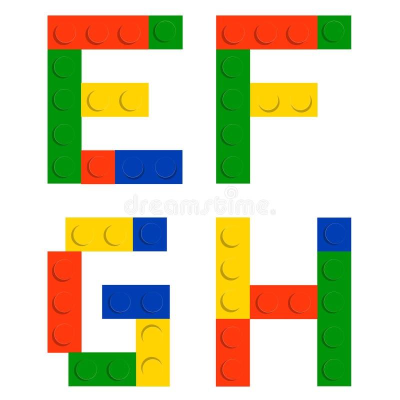 Positionnement d'alphabet fait de blocs de brique de construction de jouet illustration de vecteur
