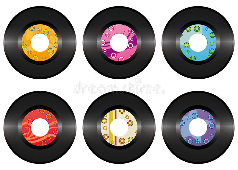Positionnement d'enregistrement de vinyle de cru d'isolement illustration de vecteur