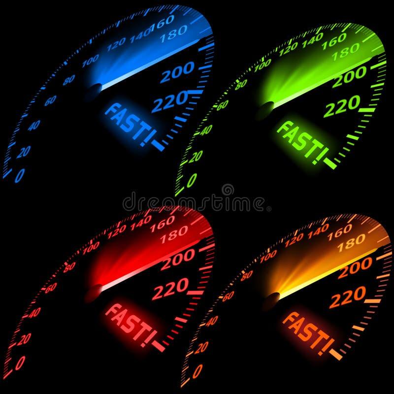 Positionnement d'indicateur de vitesse illustration stock