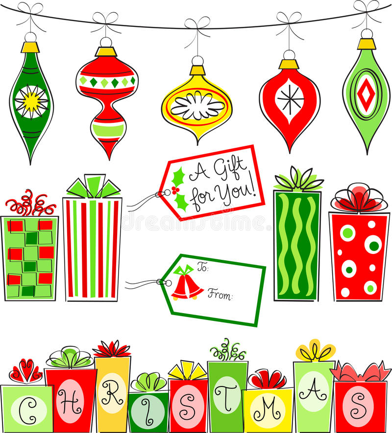 Positionnement d'ornement et de cadeau de Noël illustration de vecteur