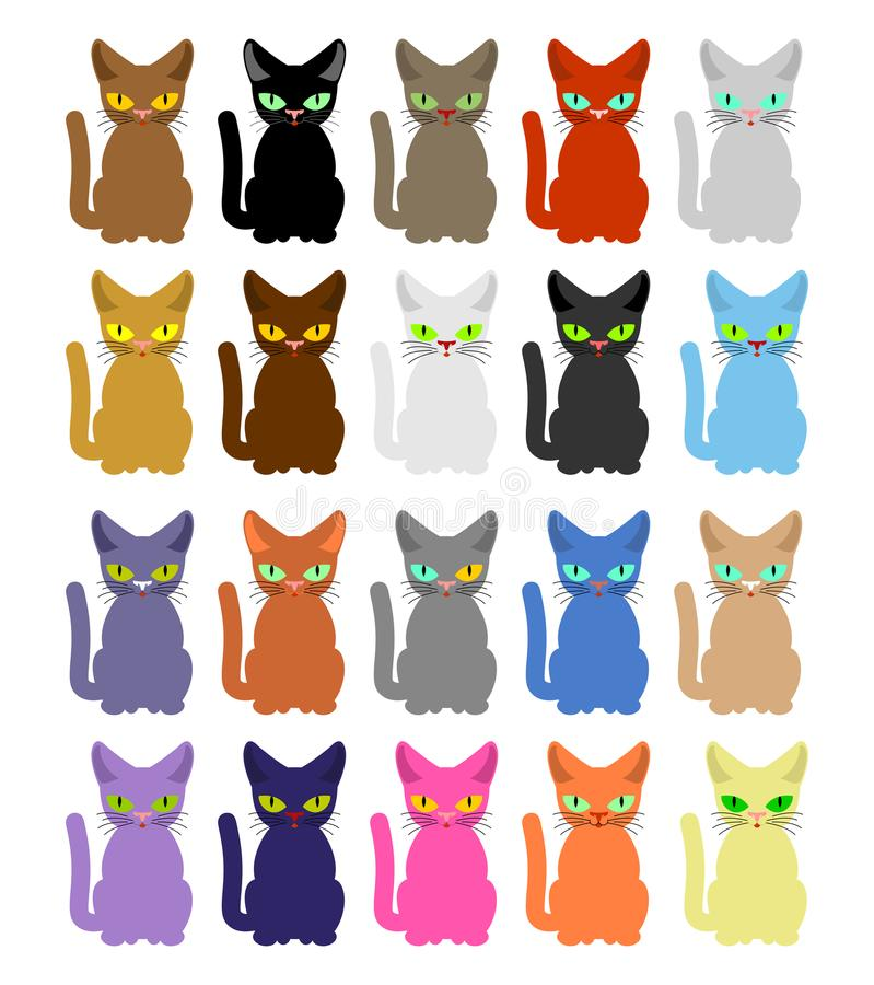 Positionnement de chat Beaucoup de chats colorés Illustration de vecteur illustration stock