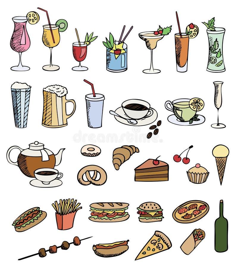 Positionnement de couleur de nourriture et de boissons illustration libre de droits