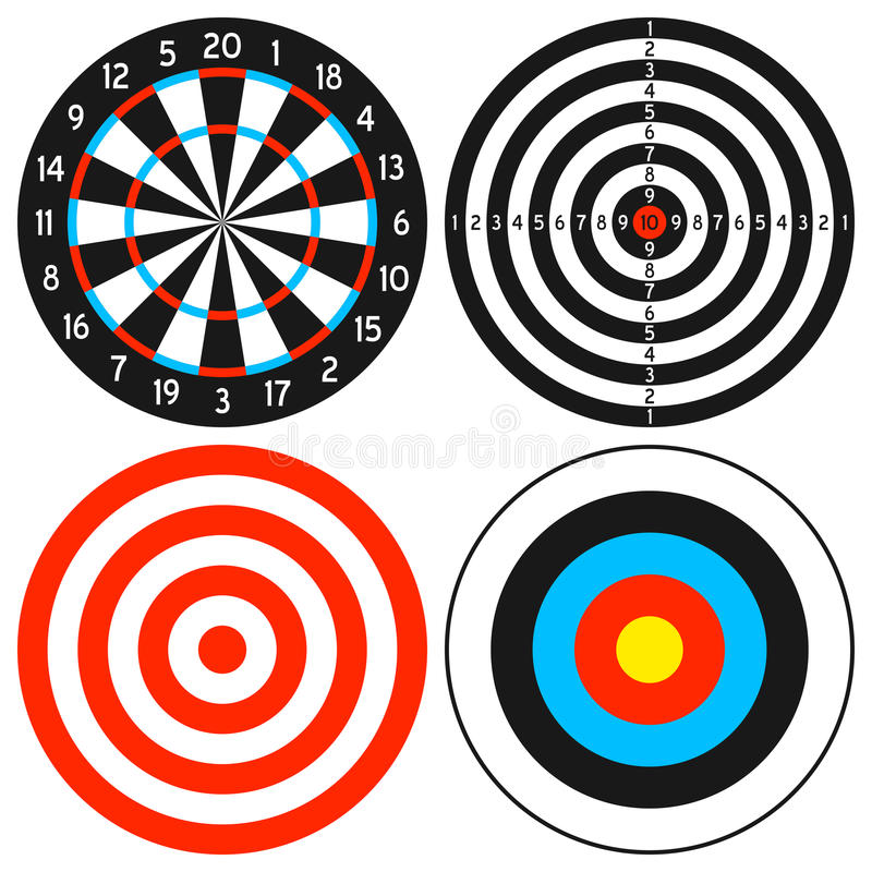 Positionnement de Dartboard et de cible illustration stock