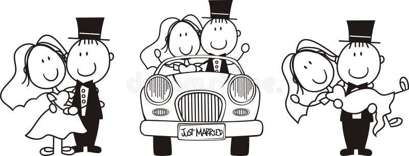 Positionnement de dessin animé de mariée et de marié illustration stock