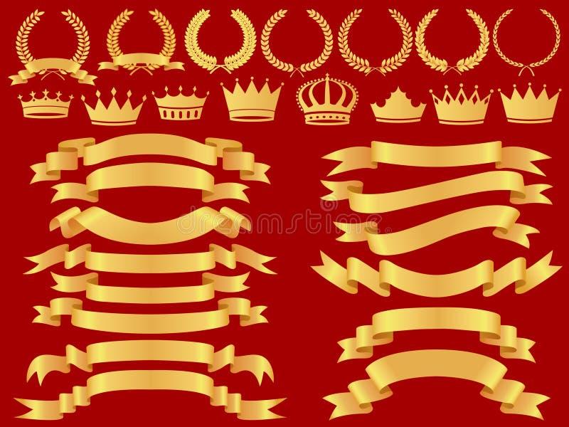 Positionnement de drapeau d'or illustration libre de droits