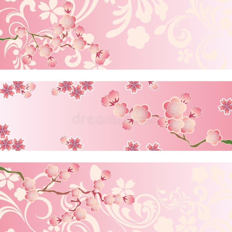 Positionnement de drapeau de fleur de cerise illustration libre de droits