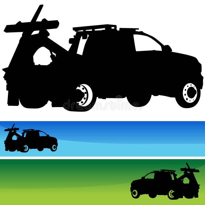 Positionnement de drapeau de silhouette de dépanneuse illustration de vecteur