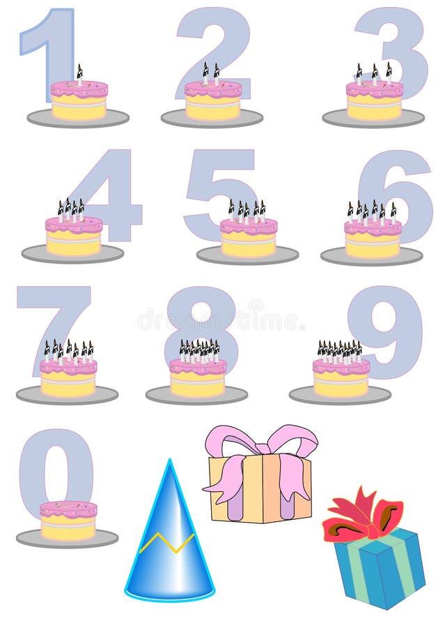 Positionnement de gâteau de numéro d'anniversaire illustration libre de droits