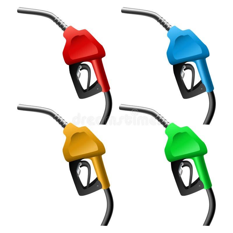 Positionnement de gicleur d'essence illustration stock