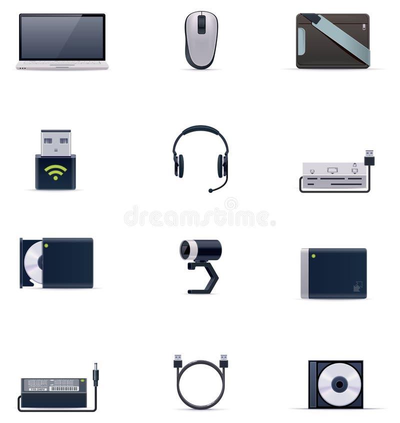 Positionnement de graphisme d'accessoires d'ordinateur portable de vecteur illustration libre de droits
