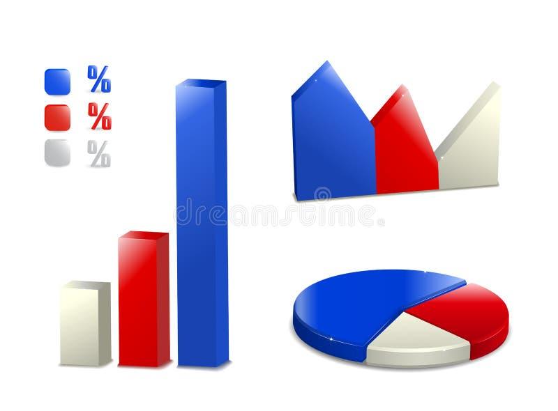 Positionnement de graphisme de diagramme à barres de secteur illustration libre de droits