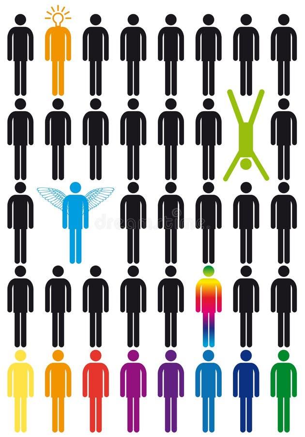 Positionnement de graphisme de gens de vecteur illustration de vecteur