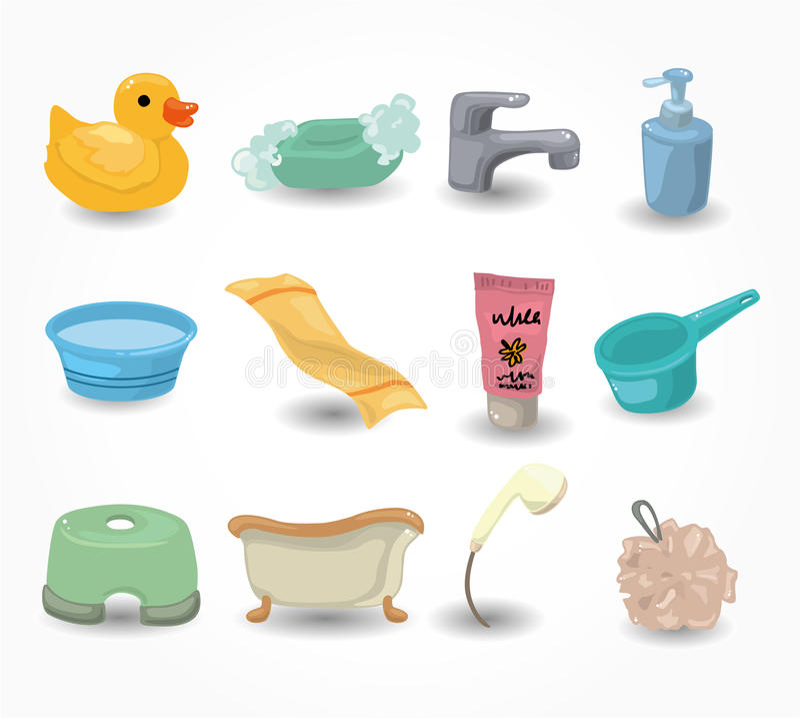 Positionnement de graphisme de mat riel de salle de bains de dessin anim pho - Materiel de salle de bain ...