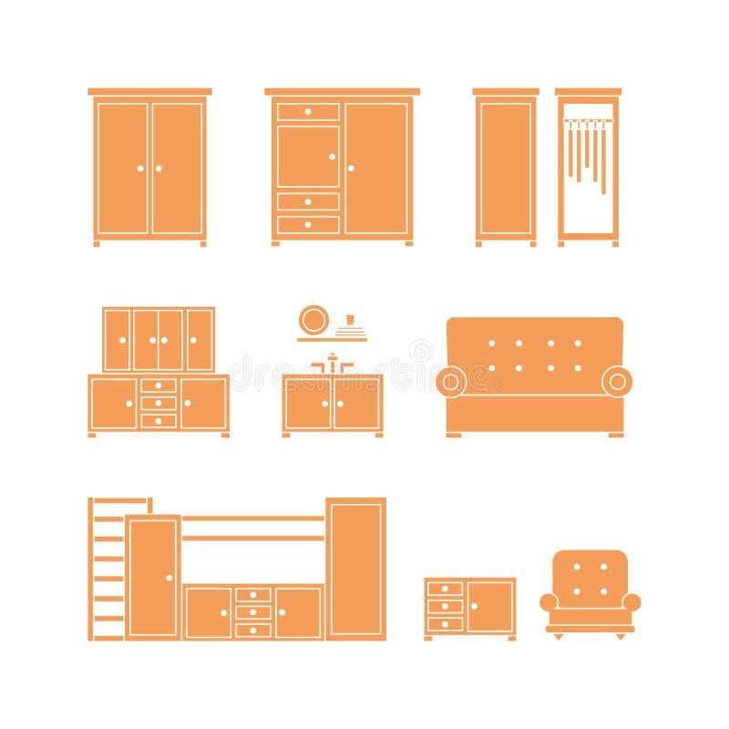 Positionnement de graphisme de meubles illustration de vecteur