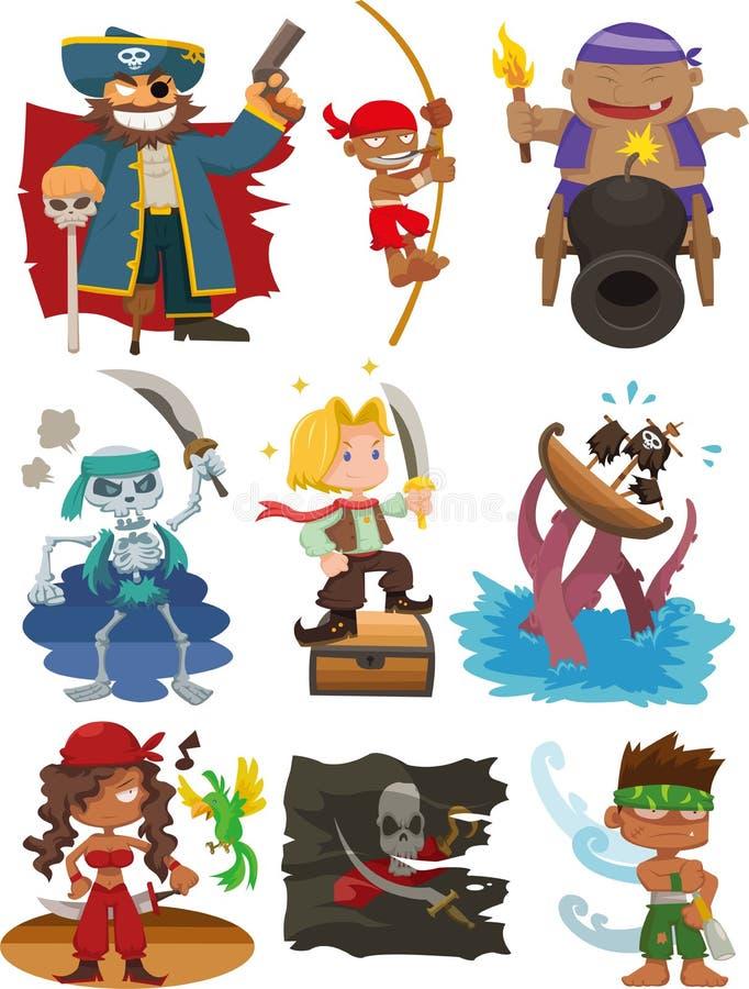 Positionnement de graphisme de pirate de dessin animé illustration stock