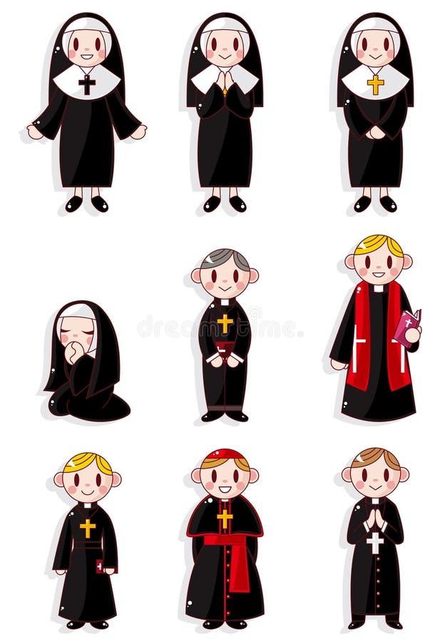 Positionnement de graphisme de prêtre et de nonne de dessin animé illustration de vecteur