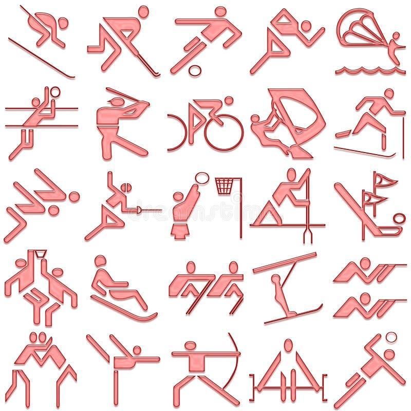 Positionnement de graphisme de symboles de sports de rouge illustration de vecteur