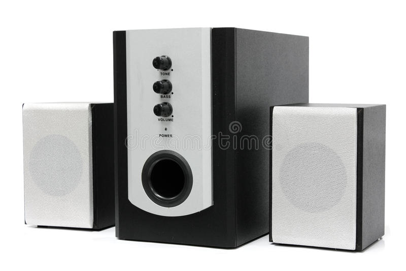 Positionnement de haut-parleur de multimédia d'ordinateur image stock