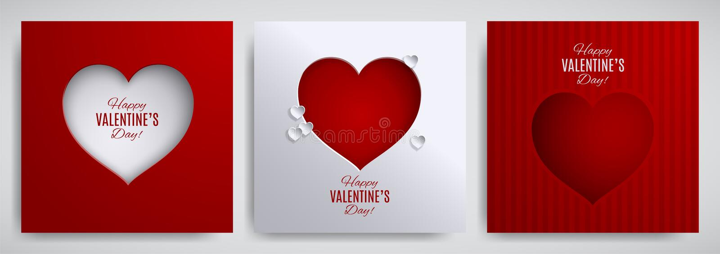 Positionnement de jour du ` s de Valentine Carte de voeux, affiche, insecte, collection de conception de bannière Coeur de papier illustration stock