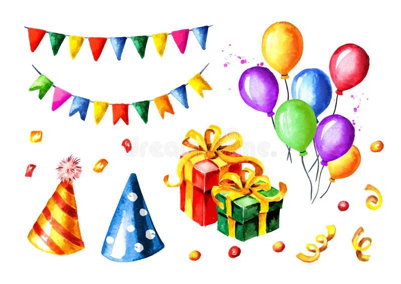 Positionnement de joyeux anniversaire Guirlandes colorées, boîte-cadeau, ballons, chapeaux d'anniversaire illustration tirée par  photo stock