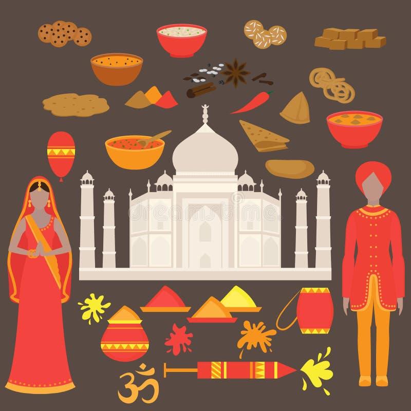 Positionnement de l'Inde Éléments de conception d'hindouisme Belle femme et homme de l'Asie du sud portant le tissu traditionnel  photographie stock