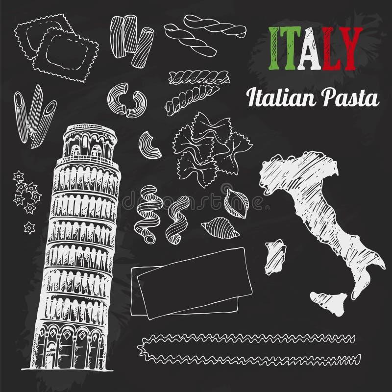 Positionnement de l'Italie Collection de nourriture de drapeau italien tiré par la main, carte, pâtes, tour de Pise, Italie marqu illustration libre de droits