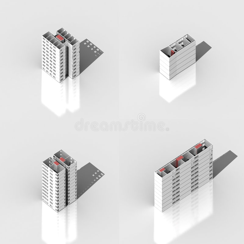 positionnement de la construction 3D images stock