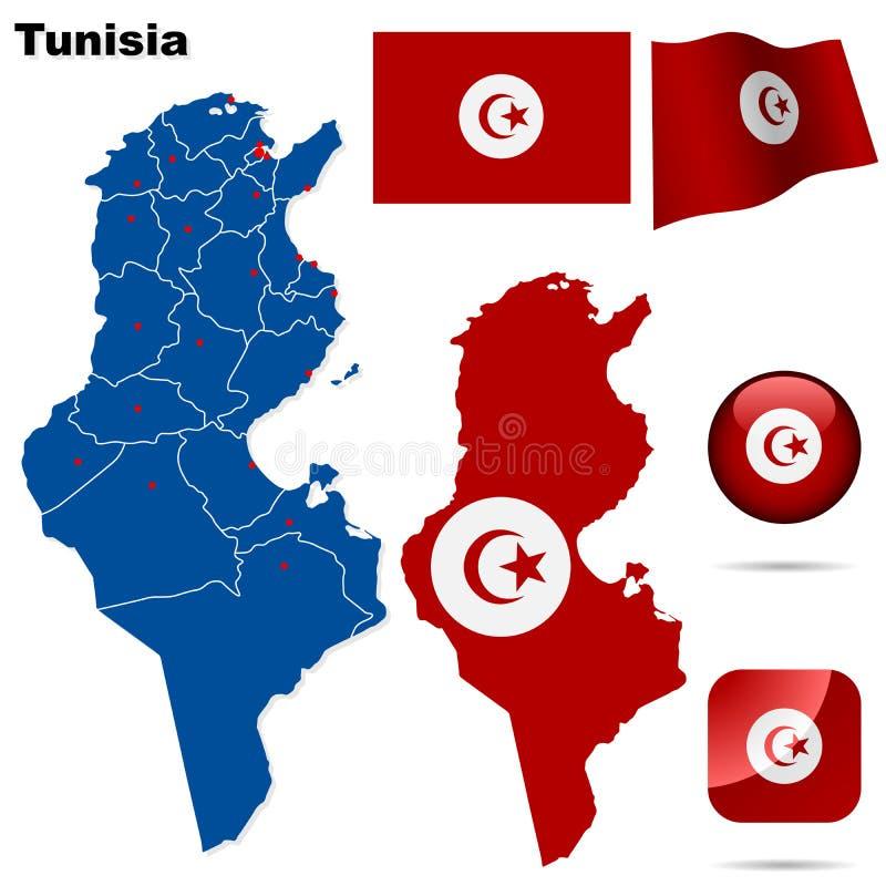 Positionnement de la Tunisie. illustration de vecteur