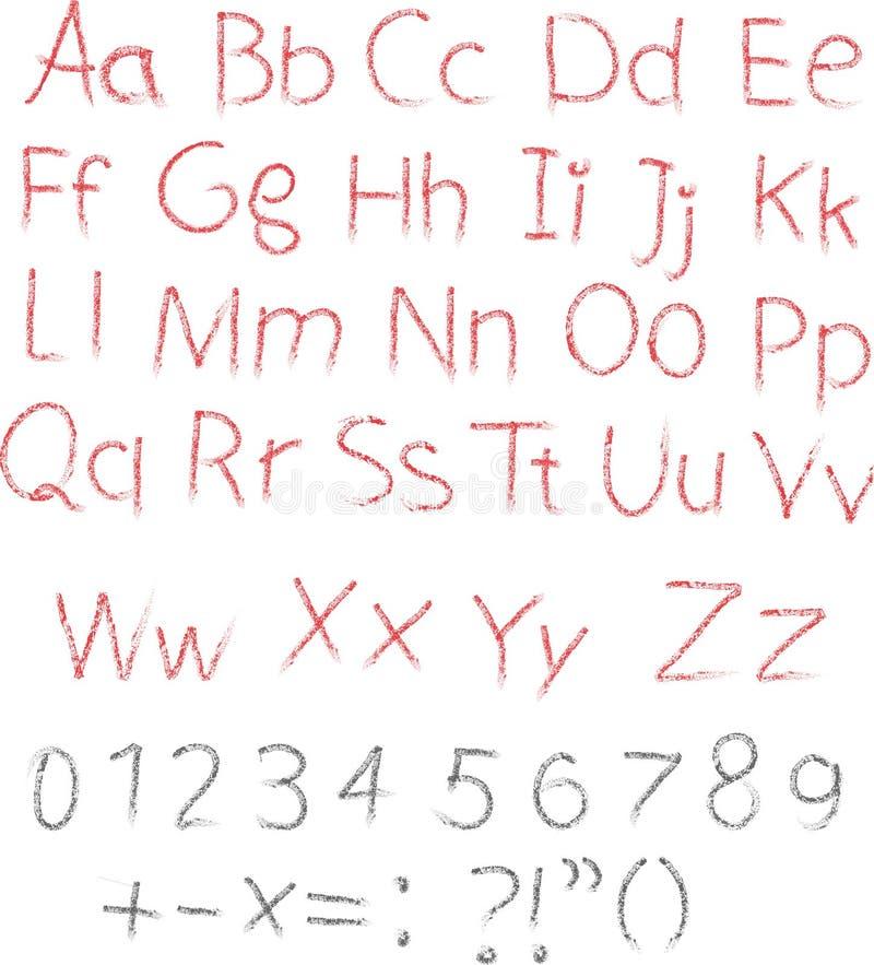 Positionnement de lettre d'alphabet de craie de crayon ou de charbon de bois illustration libre de droits