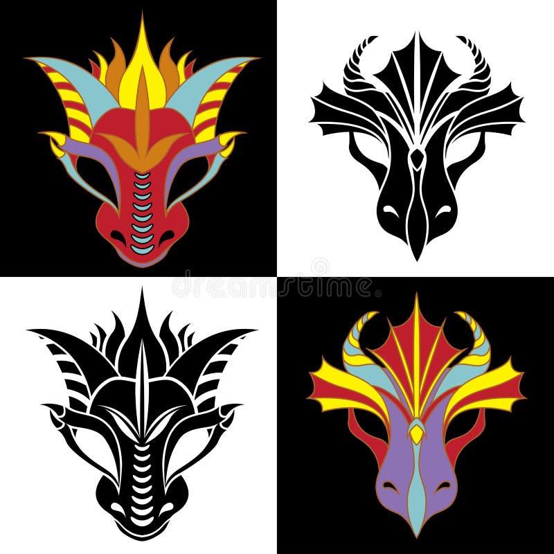 Positionnement de masque de dragon illustration de vecteur
