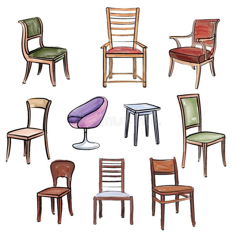Positionnement de meubles Collection intérieure d'ensemble de couleur d'eau de détail : illustration de vecteur