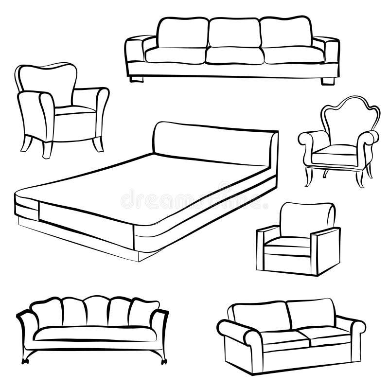 Positionnement de meubles Collection intérieure d'ensemble de détail : lit, sofa, s illustration libre de droits