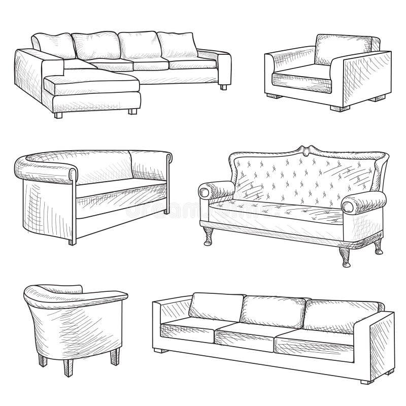 Positionnement de meubles Collection intérieure de croquis d'ensemble de détail : lit, s illustration stock