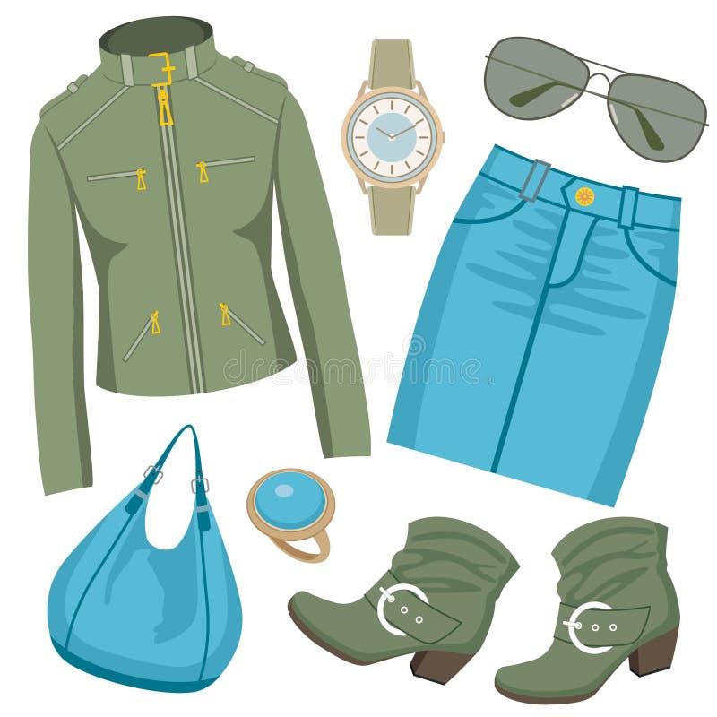 Positionnement de mode avec la jupe et une jupe illustration stock