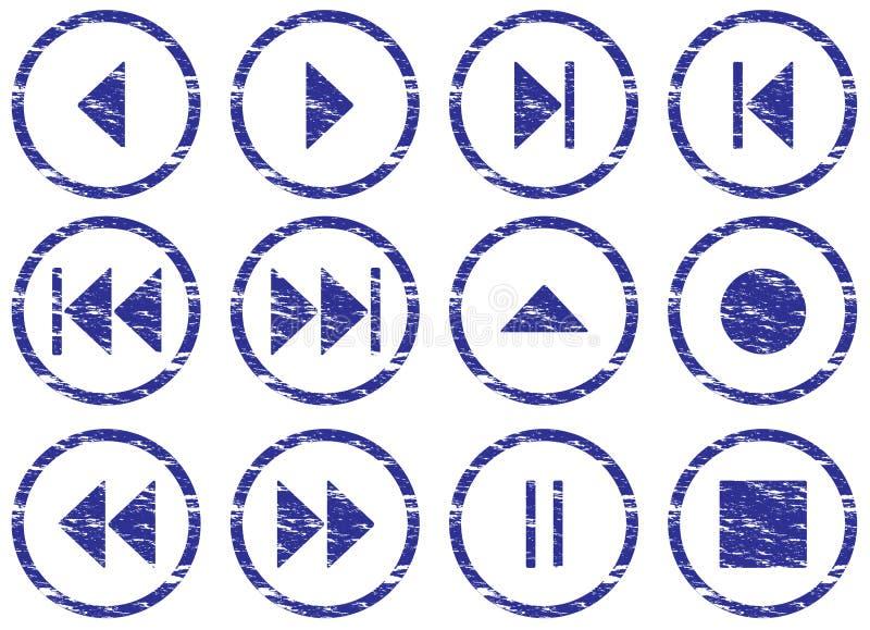 positionnement de navigation de multimédia de boutons illustration stock