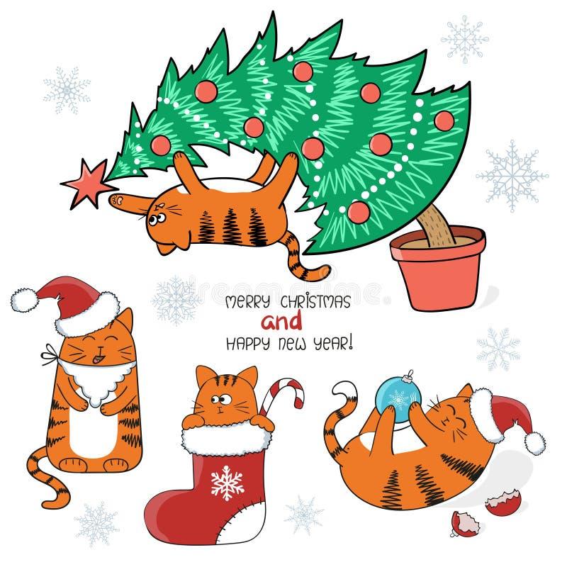 Positionnement de Noël Chats mignons de bande dessinée avec le chapeau de Santa, dans le bas de Noël, sur l'arbre de Noël illustration libre de droits