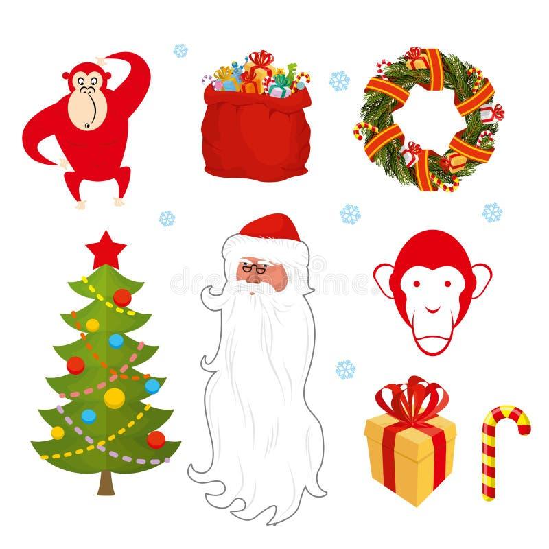 Positionnement de Noël Objets chinois de nouvelle année : sac rouge Santa Cl de singe illustration de vecteur