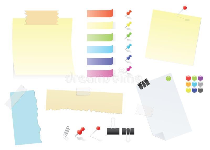 Positionnement de papier de fourniture de bureau de notes et de collants de post-it illustration libre de droits