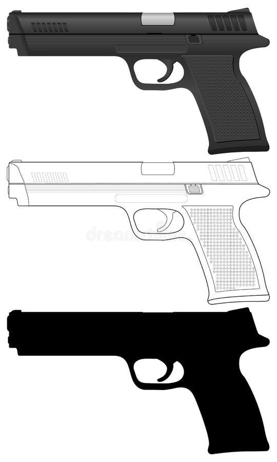 Positionnement de pistolet illustration stock