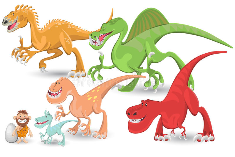 Positionnement de ramassage de dinosaurs carnivores illustration libre de droits
