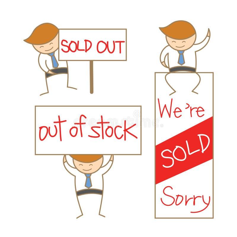 Positionnement de signe à l'extérieur vendu par exposition d'homme d'affaires illustration libre de droits