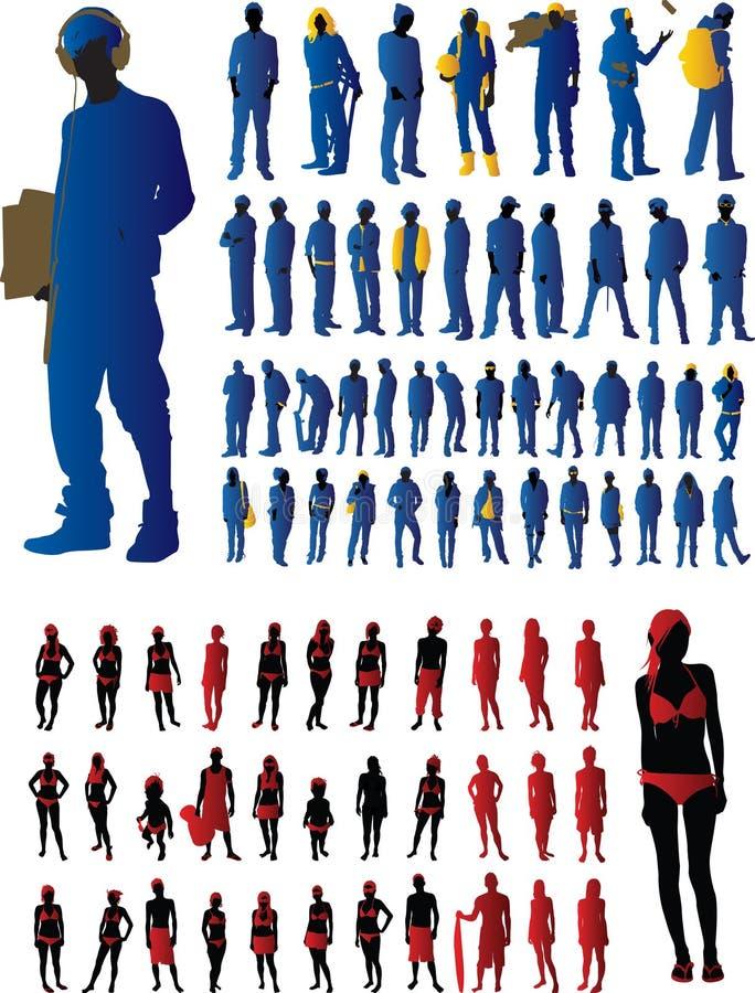 Positionnement de silhouette illustration de vecteur