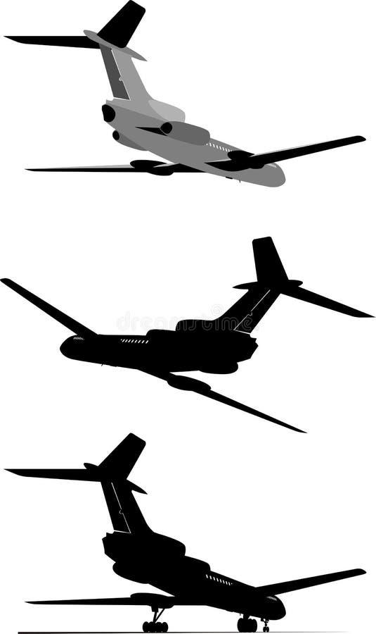 Positionnement de silhouette d'avion de passagers illustration de vecteur